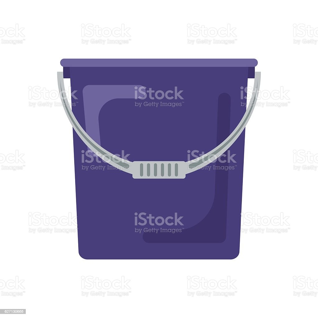 Blue flat empty bucket icon logo vector illustration. Container garden vector art illustration