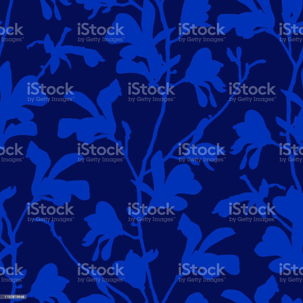 Blue Floral Background With Branch And Magnolia Flower Seamless