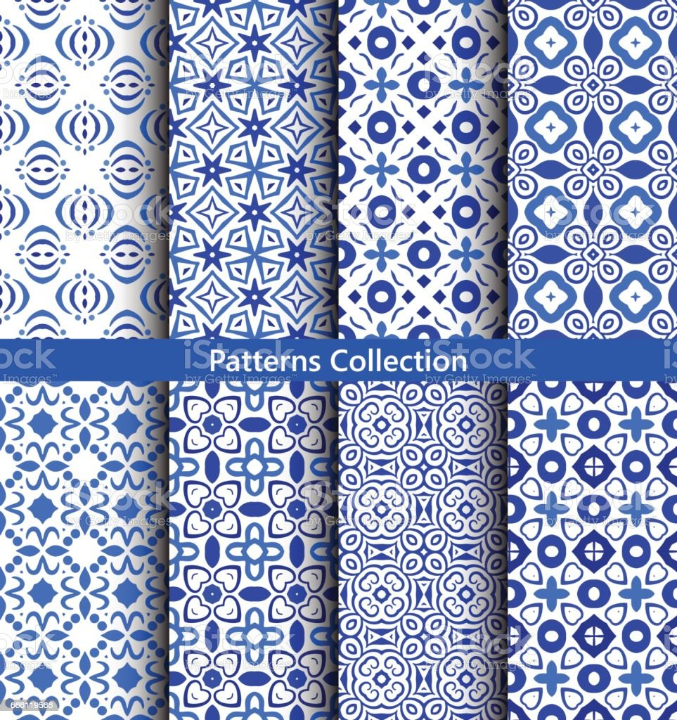 Blue floral backgrounds flower patterns vector art illustration