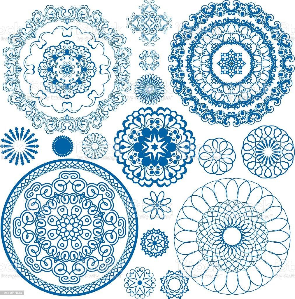 Blue floral circle patterns. Ornamental design elements. vector art illustration