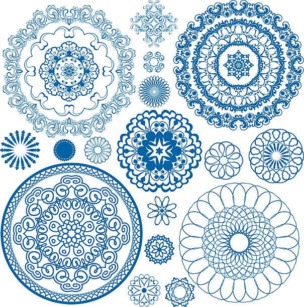 ilustrações de stock, clip art, desenhos animados e ícones de círculo floral azul padrões. elementos de design ornamentais. - lian empty
