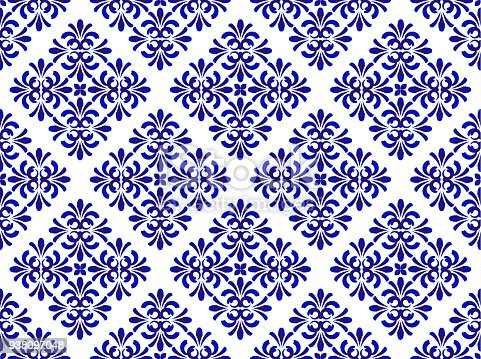 ceramic blue floral pattern seamless vector, cute porcelain background design damask style