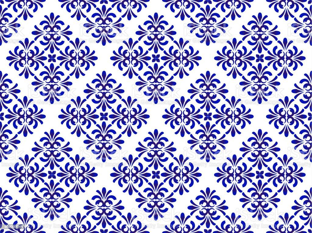 blue floral decorative pattern vector art illustration