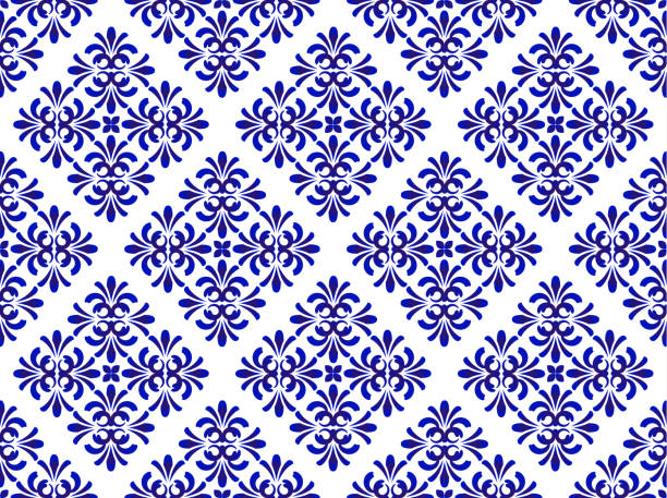 blue floral decorative pattern - tile pattern stock illustrations, clip art, cartoons, & icons
