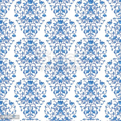 blue floral elegant border in damask retro style stock vector art