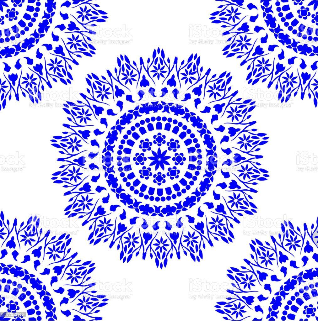 blue floral pattern vector art illustration