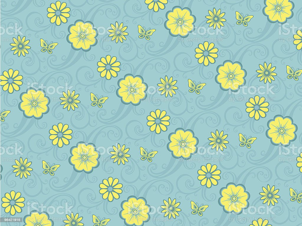Blaues Blumenmuster Lizenzfreies blaues blumenmuster stock vektor art und mehr bilder von biegung
