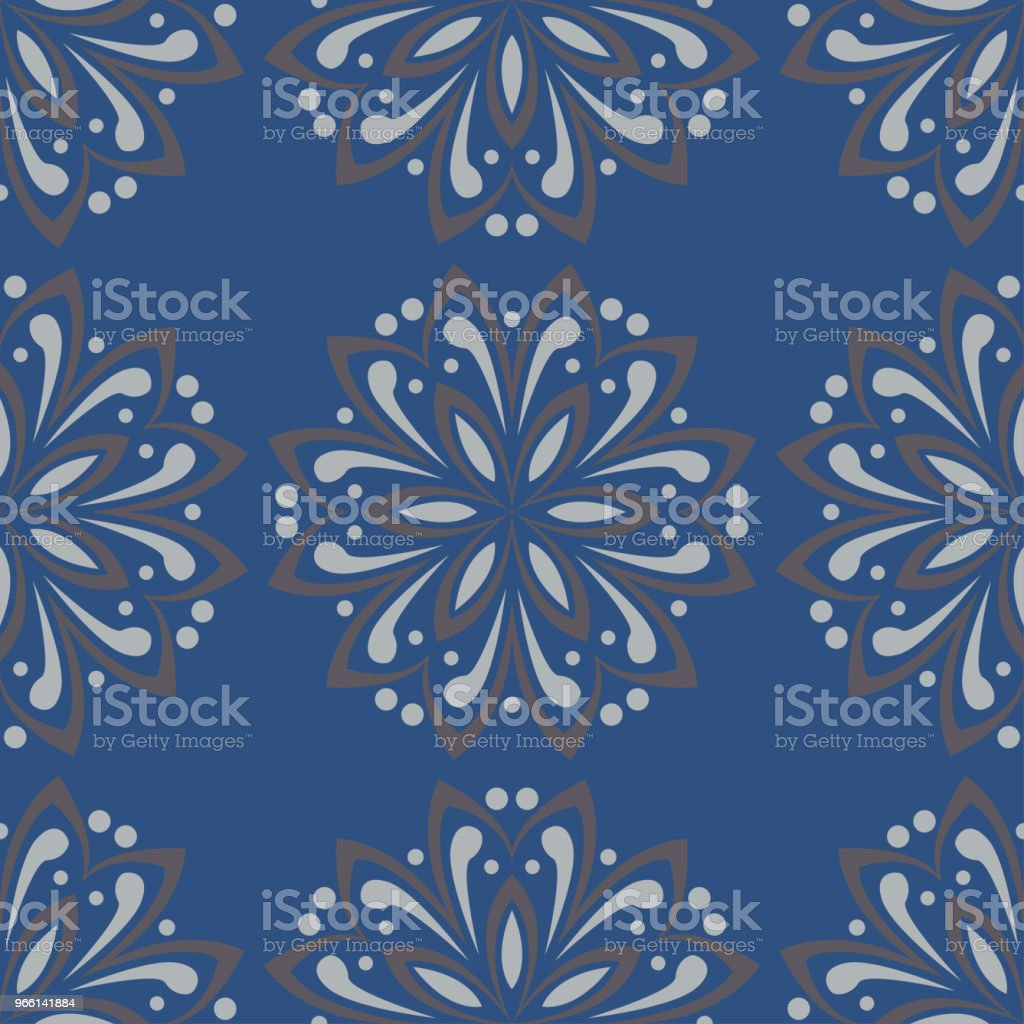 Blue floral seamless background. Design pattern with flower elements - Royalty-free Abstract stock vector