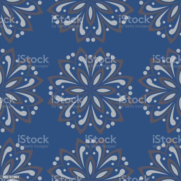 Blå Blommig Sömlös Bakgrund Designmönster Med Blomma Element-vektorgrafik och fler bilder på Abstrakt