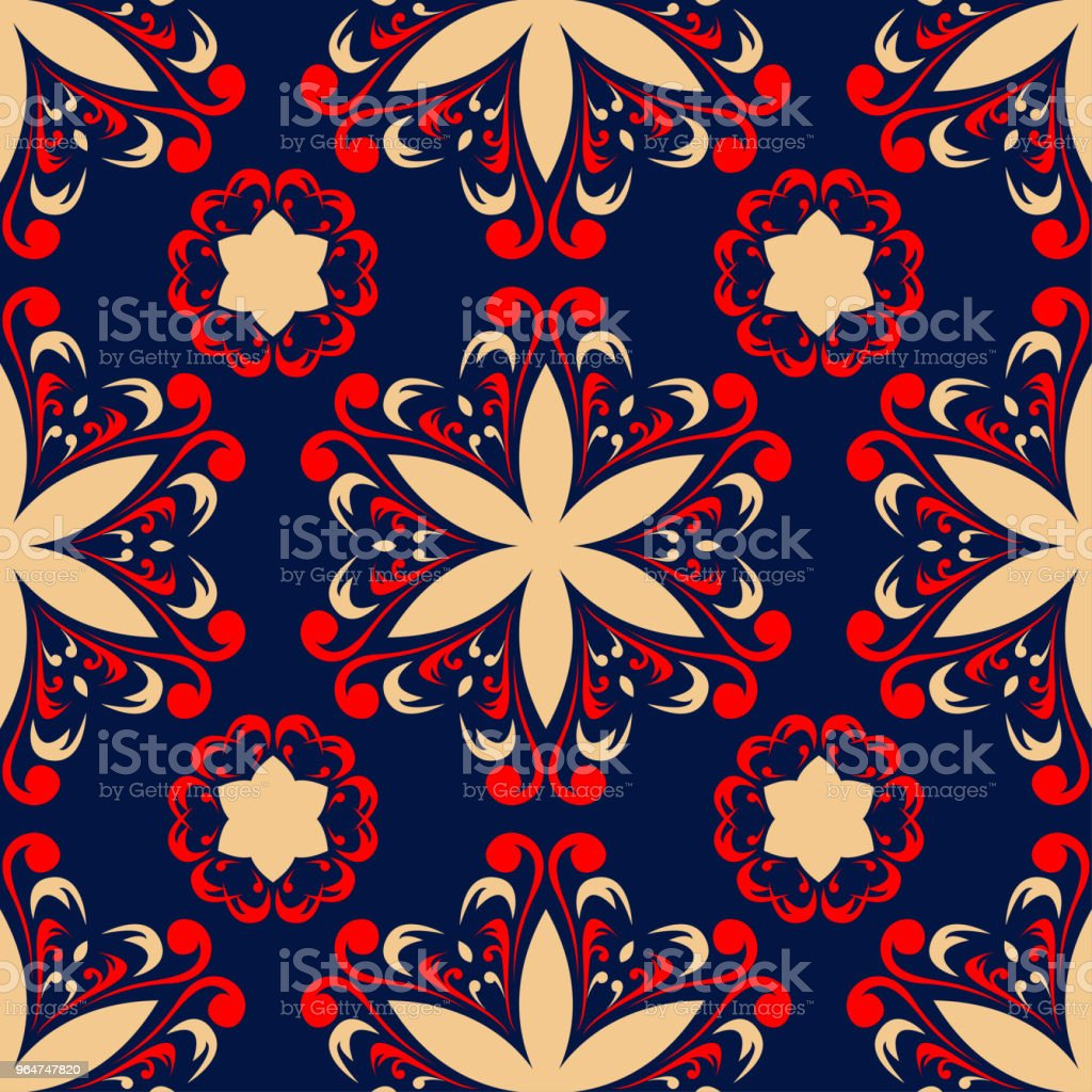 Blue floral seamless background with red and beige pattern royalty-free blue floral seamless background with red and beige pattern stock vector art & more images of abstract