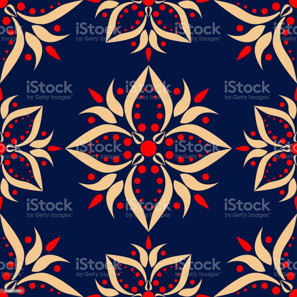 Blue floral seamless background with red and beige pattern blue floral seamless background with red and beige pattern - stockowe grafiki wektorowe i więcej obrazów abstrakcja royalty-free
