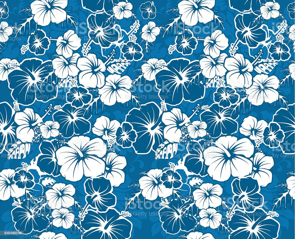 Blue floral seamless hawaiian background with hibiscus flowers stock blue floral seamless hawaiian background with hibiscus flowers royalty free blue floral seamless hawaiian background izmirmasajfo