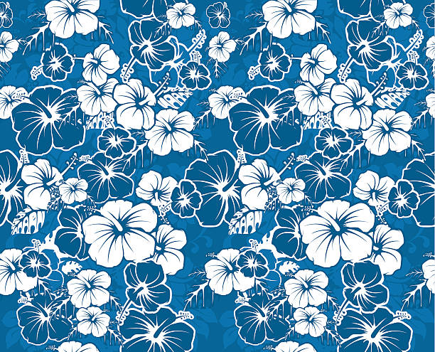 Blue floral seamless Hawaiian background with hibiscus flowers Blue floral seamless Hawaiian background with hibiscus flowers hawaiian culture stock illustrations