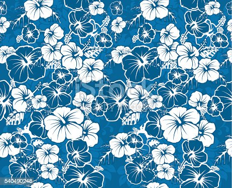 Blue Floral Seamless Hawaiian Background With Hibiscus ...
