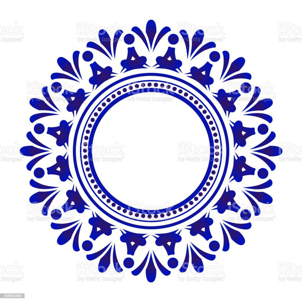 Blue Floral Vector Round Frame Stock Vector Art & More Images of ...