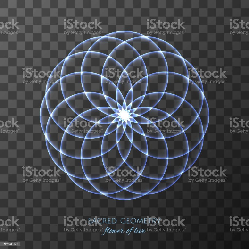 Blue Flower Of Life On Transparent Background Sacred