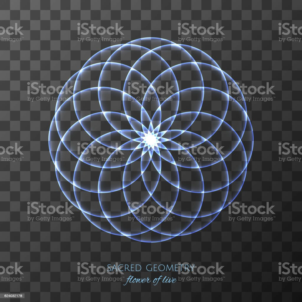 Blue flower of Life on transparent background. Sacred Geometry. vector art illustration