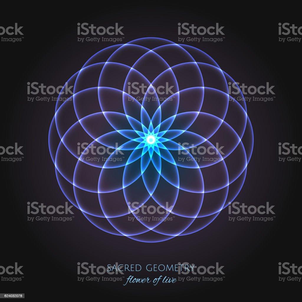 Blue flower of Life. Sacred Geometry. vector art illustration