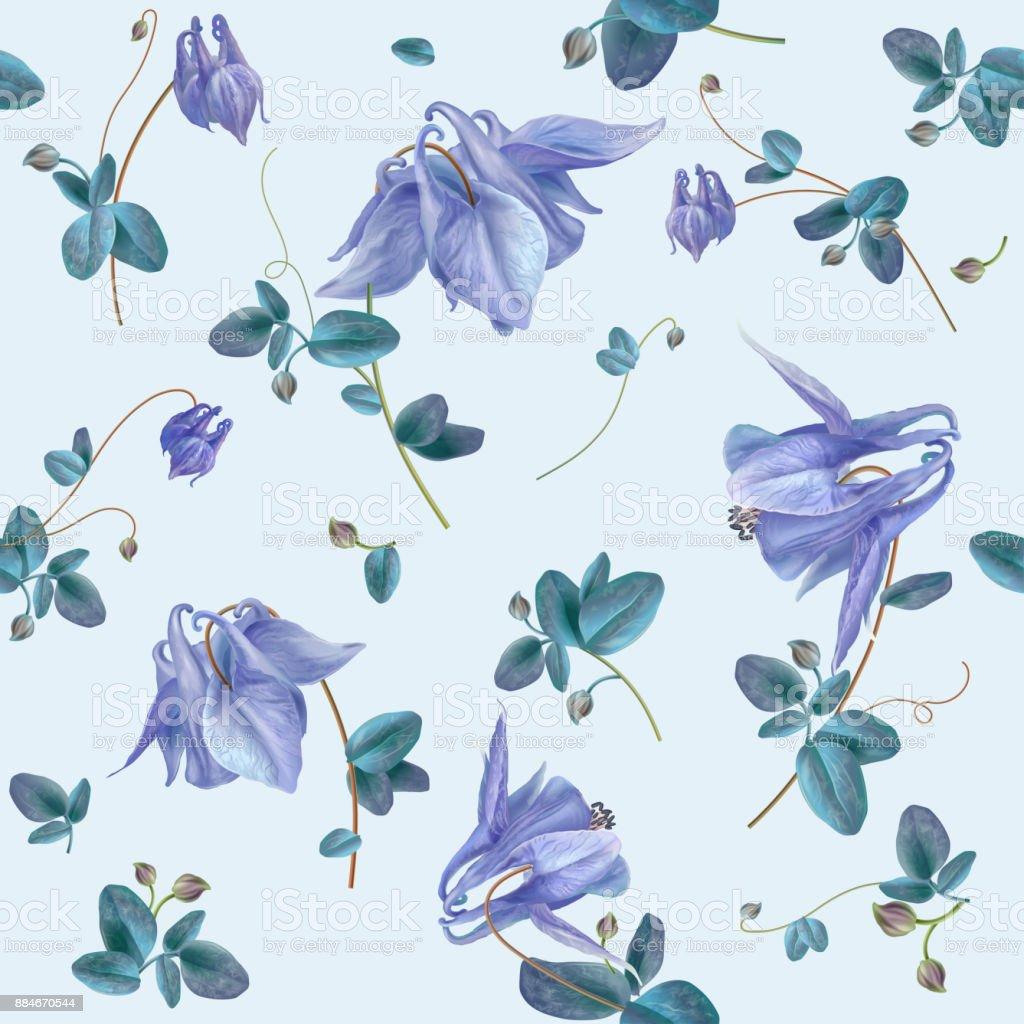 ブルーの花柄 ベクターアートイラスト