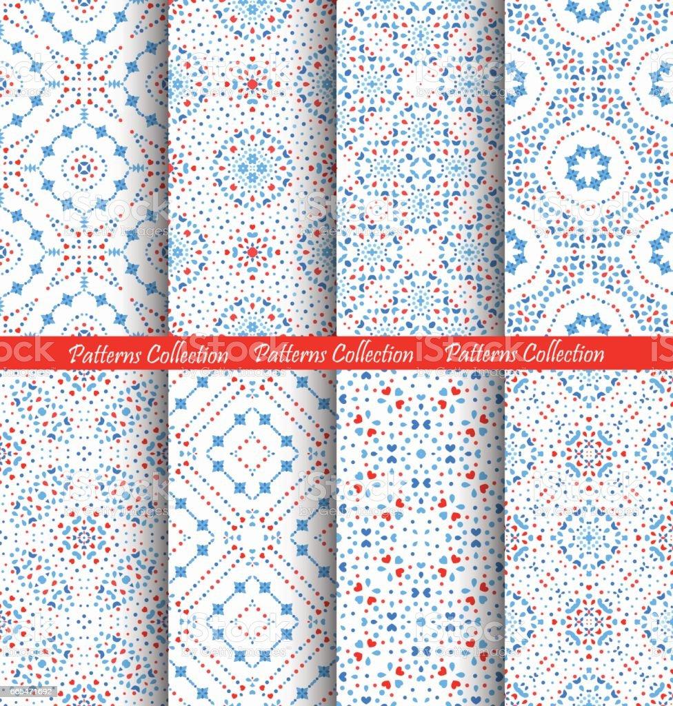 Blue Flower Patterns Intricate Backgrounds vector art illustration