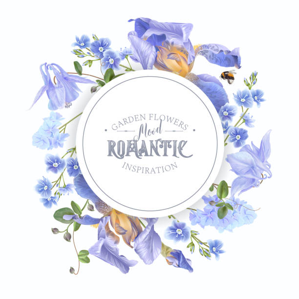 Blue flower round banner Vector botanical banner with blue flowers on white background. Floral design for natural cosmetics, perfume, women products. Can be used as greeting card, wedding invitation, spring background bee borders stock illustrations