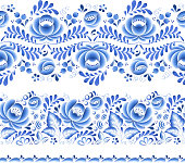 Blue flowers floral russian porcelain beautiful folk ornament. Vector illustration. Seamless horizontal borders.