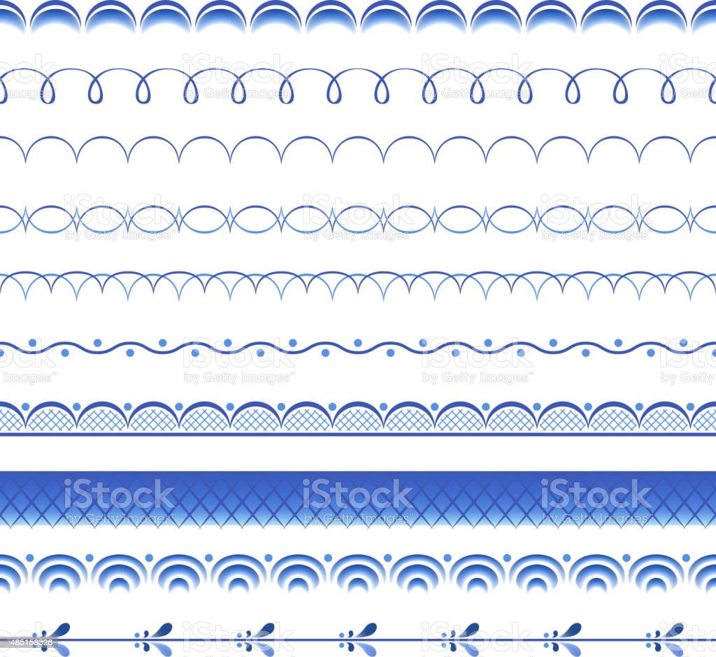 Blue flowers floral russian porcelain beautiful folk ornament vector art illustration