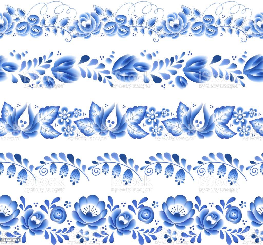 Blue flowers floral russian porcelain beautiful folk ornament. vector art illustration