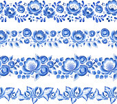 Blue flowers floral russian porcelain beautiful folk ornament. Vector illustration. Seamless horizontal borders. Floral chinese pattern.