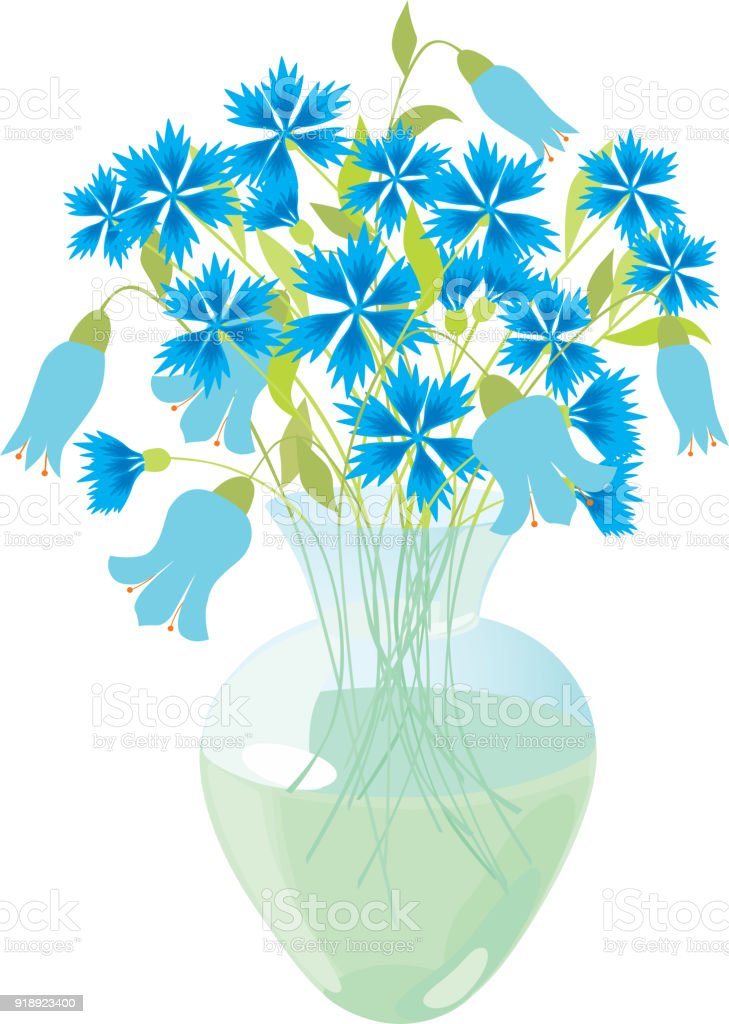 Blue Flowers In A Glass Vase Stock Vector Art More Images Of Blue