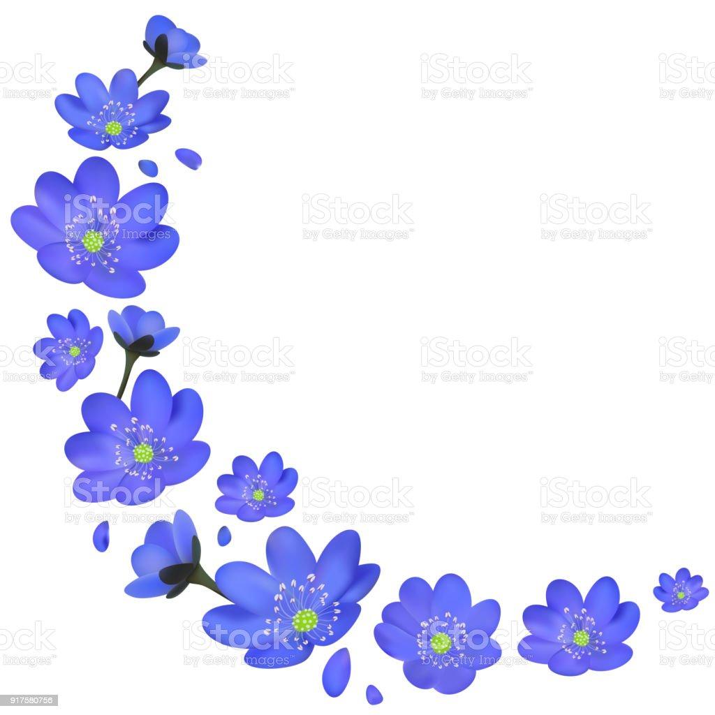 Blue Flowers Spring Floral Background Border Wreath Stock Vector Art