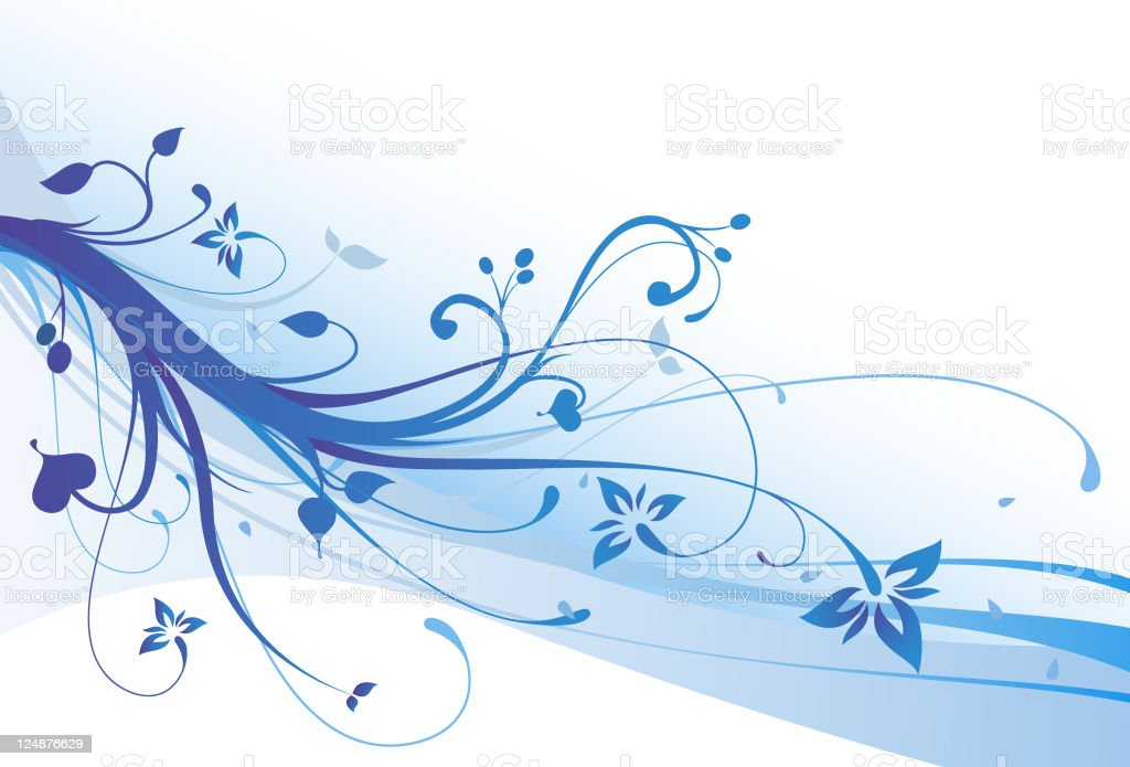 Blue Flowers Vector Floral Ornament Background royalty-free stock vector art
