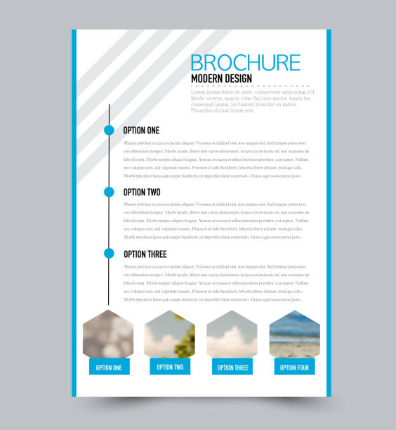 Blue flyer design template with built in images. Brochure for business, education, presentation, advertisement. Corporate identity style concept. Editable vector illustration. - illustrazione arte vettoriale