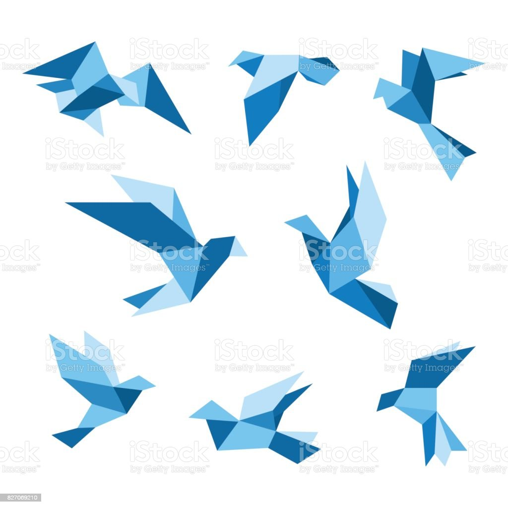 Blue flying pigeon and dove birds set, isolated on white. Pigeon polygonal style. Vector illustration. vector art illustration