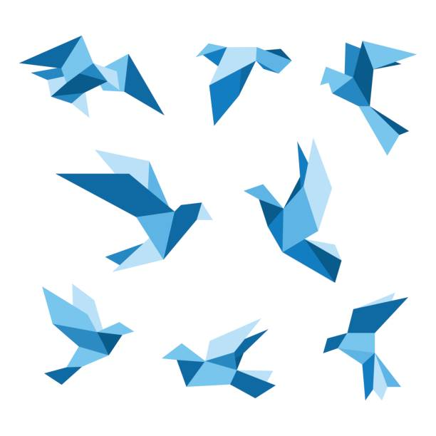 blue flying pigeon and dove birds set, isolated on white. pigeon polygonal style. vector illustration. - crane bird stock illustrations
