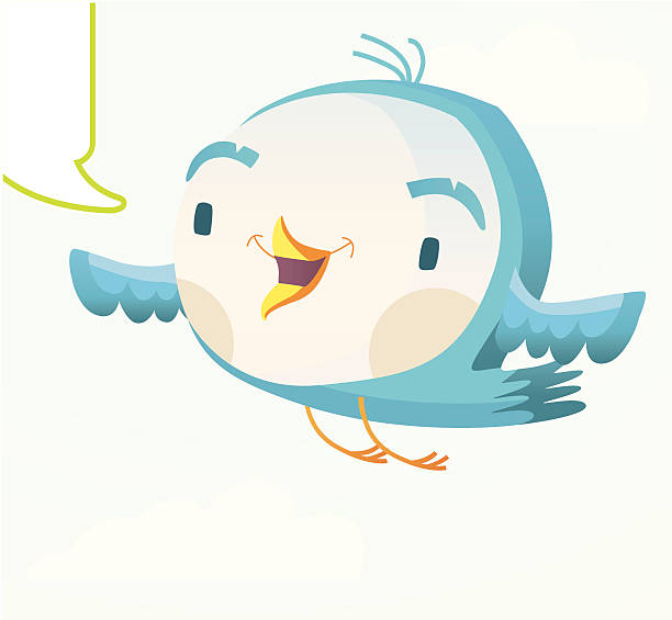 blue flying twitter bird. - twitter 幅插畫檔、美工圖案、卡通及圖標
