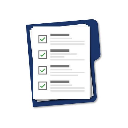 Blue folder with checklist isolated vector on white background. Blue vector folder with document. Vector assessment template.