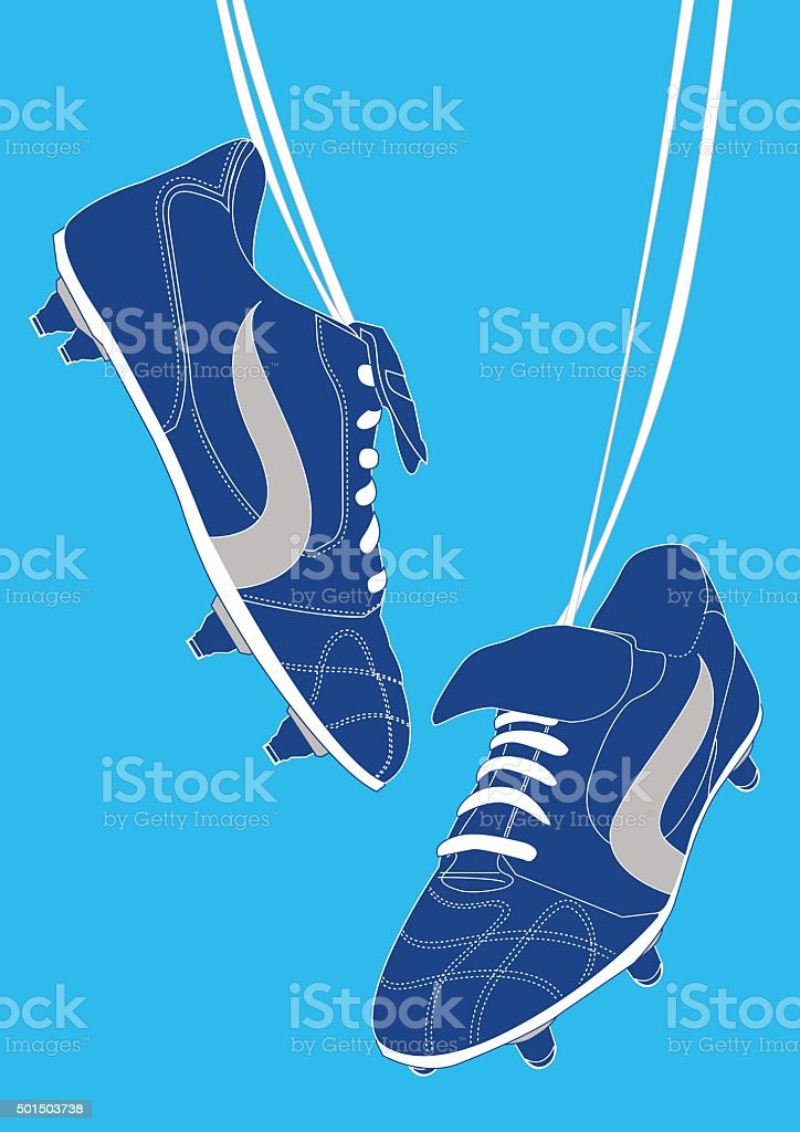 Blue football shoes vector art illustration
