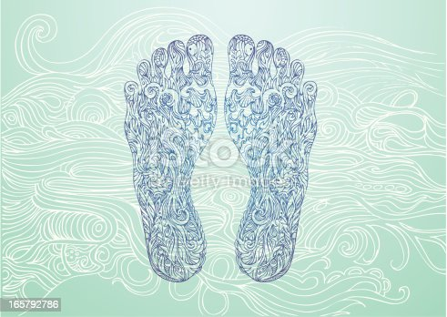 foot prints inspired by the elements of nature on a wave pattern