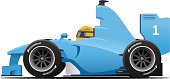 Blue cartoon race car side view vector illustration isolated on white.