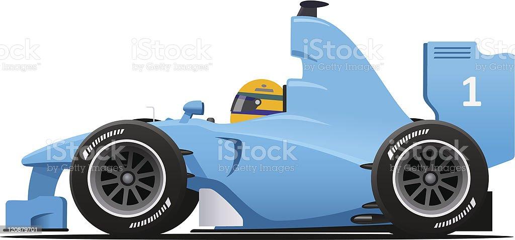 Blue Formula 1 Racecar vector art illustration