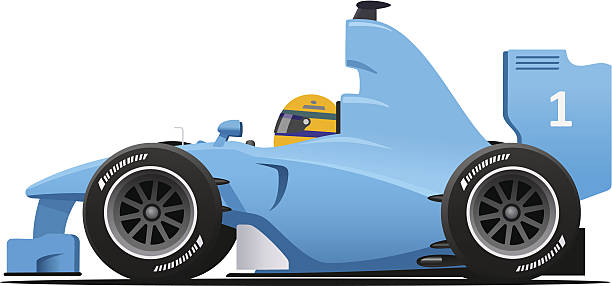 Blue Formula 1 Racecar Blue cartoon race car side view vector illustration isolated on white. indy racing league indycar series stock illustrations