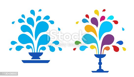 Set vector icon fountain.  Blue fountain isolated on white background. A fountain of drops of paint. The festival of colors.