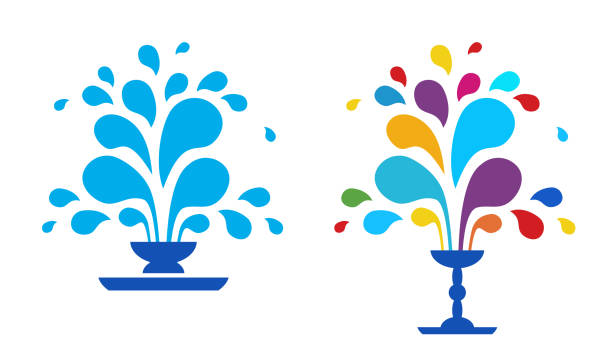 blue fountain isolated on white background - fontanna stock illustrations