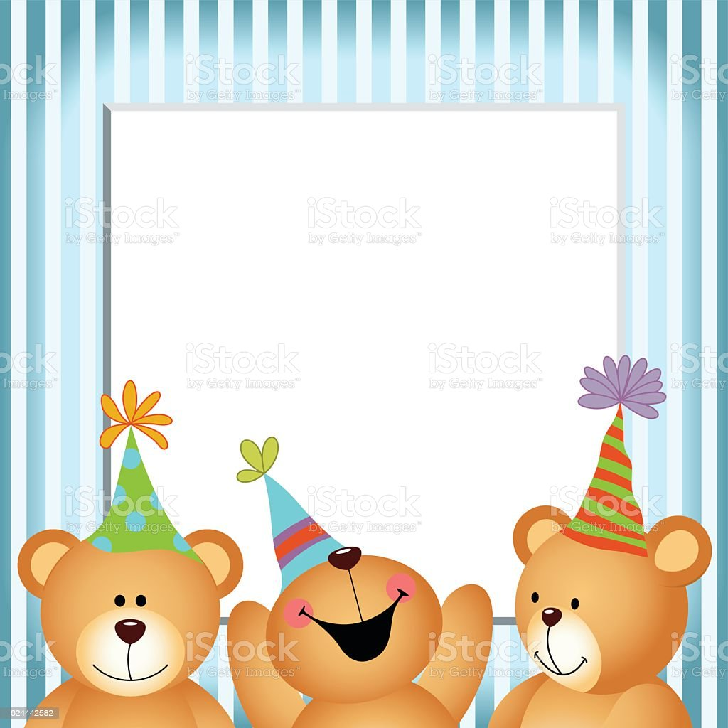 Blue Frame Happy Birthday Teddy Bears Stock Vector Art & More Images ...