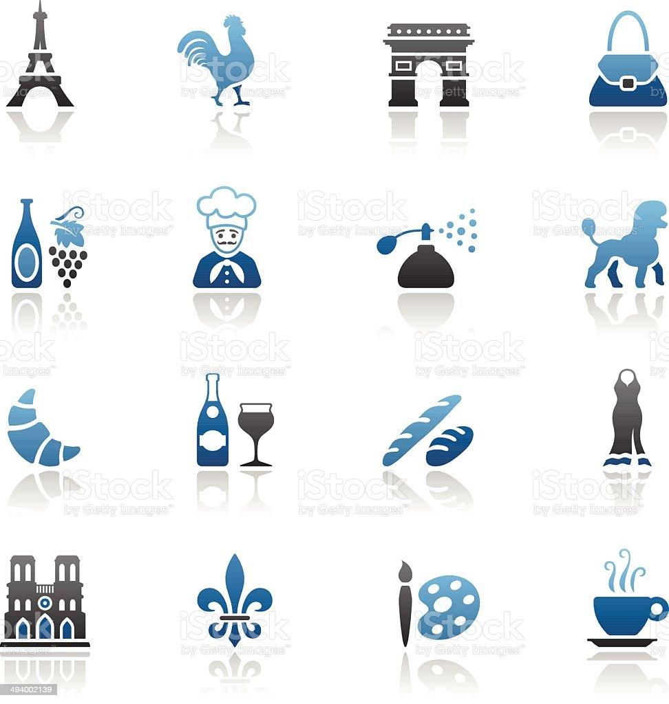Blue France Icon Set vector art illustration