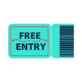 Blue free entry ticket vector illustration