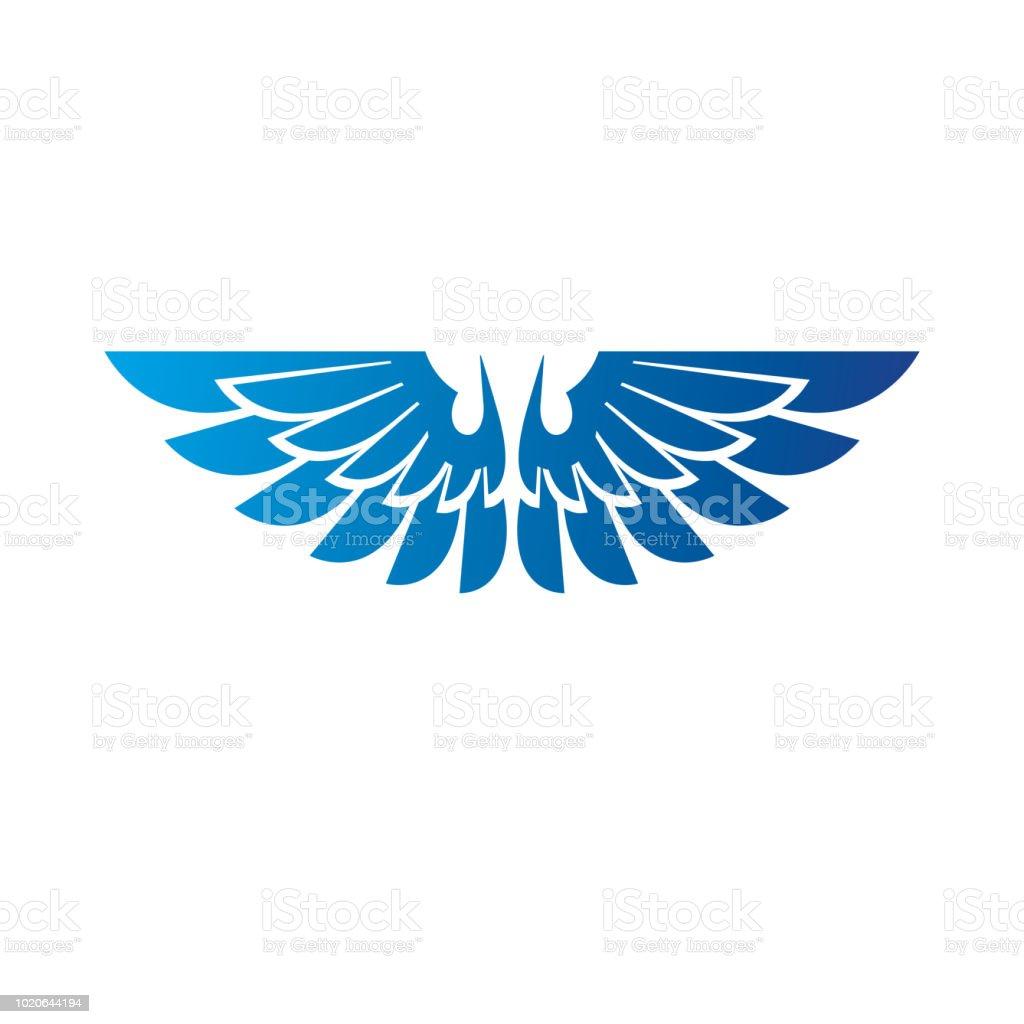Emblema de asas azuis da liberdade. Ilustração em vetor brasão heráldico sinal decorativo isolado. - ilustração de arte em vetor