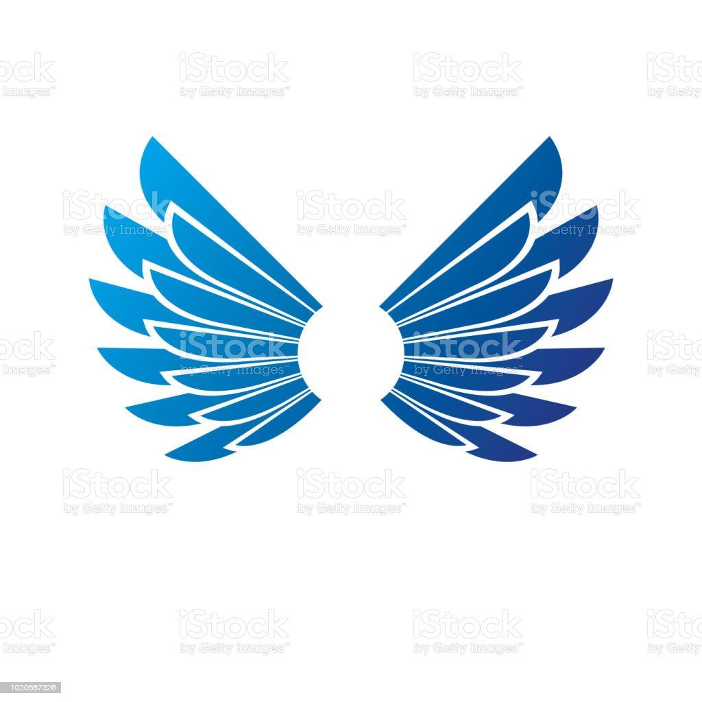 Emblema de asas azuis da liberdade. Ilustração em vetor brasão heráldico símbolo decorativo isolado. - ilustração de arte em vetor