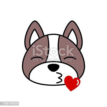istock Blue French Bulldog emoji sending kiss. 1280749203